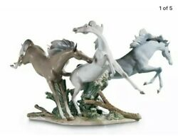 Lladro -born Free Horses Sculpture  Figurine Collectibles. Wood Base Included.