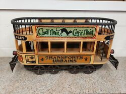 Double Decker French Trolley Car Wood And Cast Iron France Champagne De Cognac