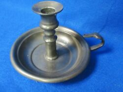 Antique English Pewter Chamberstick Candlestick Holder