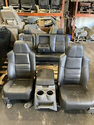 08-10 Ford F250 F350 Superduty Crew Cab Black Leather Seat Set Console Front