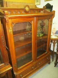Antique Eastlake Gothic Victorian Walnut Bookcase W/ Tile And Brass Hardware