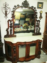 Antique Victorian Walnut Fruit Highly Carved Hall Mirrored Door Cabinet Marble