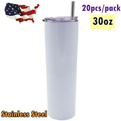 20/pack 30oz Skinny Tumbler Stainless Steel Insulated Water Bottle With Straw