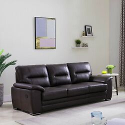 Chocolate Top Grain Leather Match Sofa With Usb Port