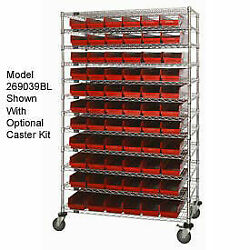 Wire Shelving With 88 4h Plastic Shelf Bins Red, 60x14x74
