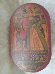 Tony Sarg Nantucket Hand Painted Wooden Bride Box Signed Antique Large Size