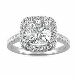 Forever One 7.5mm Cushion Moissanite Halo Engagement Ring, 2.59cttw Dew D-e-f