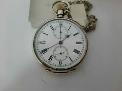 Rare Solid Silver Pocket Watch Chronograph - Double Dial - Two Face - 53.00 Mm