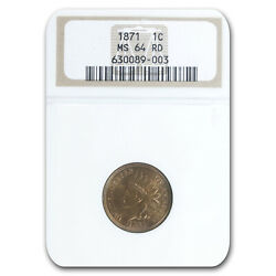 1871 Indian Head Cent Ms-64 Ngc Red - Sku235320