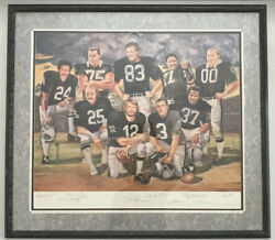 """1992 Nfl Raiders Lithograph 32x36""""autographed By All 9 Players 423/1000 Mint"""