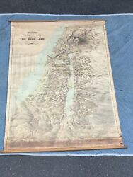 H.c. Tunison Birds Eye View Map Of The Holy Land Circa 1910 44andrdquo X 62andrdquorare