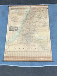 """H.c. Tunison's New Map Of Palestine All Bible Lands Circa 1910 44"""" X 62""""rare"""