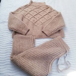 Lunya Chunky Wool Set Pullover Sweater + Crop Pants Xs/s Xsmall / Small Ginger