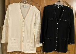 2 St. John Knits Evening And Collection Long Cardigan-jackets Size 10