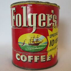 1950s Vtg Folgers Coffee Tin 2 Lb Can Ship No Lid Red W Yellow 10c Off Apprx 6x5