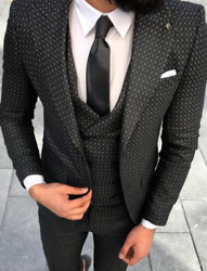 Designer Business Grey Black Checkered Suit Jacket Trousers Vest Fitted 46