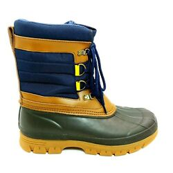 Lands End Mens 503605 Expedition Nylon Snow Boots Mid Calf Plush Radiant Navy 8d