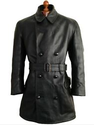 Leather 40s Ww2 Horsehide German Luftwaffe Officers Trench Coat Pilot Jacket Lg