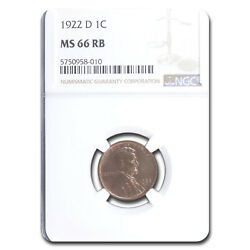 1922-d Lincoln Cent Ms-66 Ngc Red/brown - Sku235377