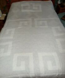 Vintage White Geometric Chenille Cutter Light-weight Bedspread Approx 88 X 102