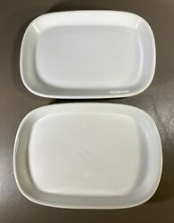 Twa Trans World Airlines 2 Piece White Abco Japan Usa Rectangle Meal Plates