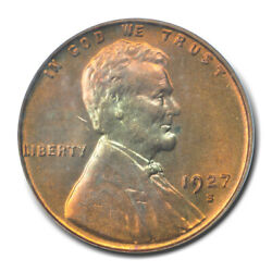 1927-s 1c Lincoln Cent - Type 1 Wheat Reverse Pcgs Ms64rd