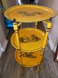 1950-1960 Rare Italian Three Tier Painted Yellow And. Black Tole Trays On Stand