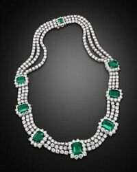Royal Round-cut White And Green Emerald Three Line Womens Handcrafted Necklace