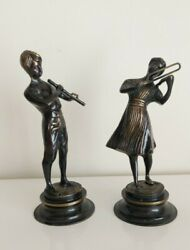 Heavy Brass Statues Bronze Statues Of Boy And Girl Playing Flute And Violin