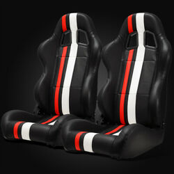 Universal Jdm Black Pvc Leather Red/white Strip Left/right Racing Seats + Slider