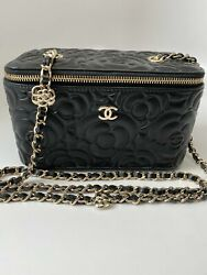 Goatskin Camelia Embossed Small Vanity Case With Chain
