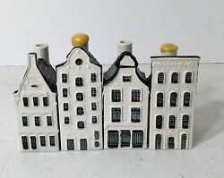 Blue Delfts For Klm By Bols Royal Distilleries Set Of 4 Miniature Canal Houses