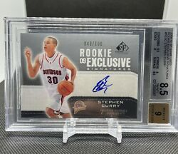 2009-10 Sp Game Used Rookie Exclusives Stephen Curry Auto Rc /100 Bgs 8.5 / 9