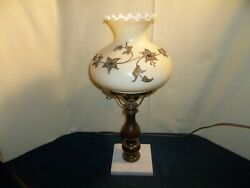 Pretty Vintage Gwtw Wood Table Lamp W/ Raised Gold Flowers White Marble Base