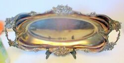 Antique Silver Knickerbocker Silver Plate Tray Platter Dish Flowers Repousse