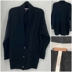 Free People Eucalyptus Half Button Front Cardigan Black Long Sleeves Size Xsmall