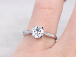 0.60 Carat Natural Diamond Engagement Promise Ring 14k Solid White Gold Size 4 5
