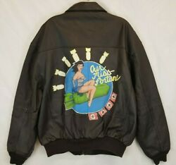 Our Miss Fortune B17 Bomber Airborne Leather Flight Jacket Xl Custom Painted