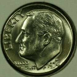 1974-d 10c Roosevelt Dime Bu Clad 20ll1019 70 Cents Shipping