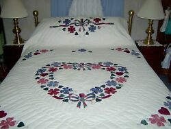 King/queen Amish Hand Made Country Love Appliqued Quilt 99 Wide X 108 Long