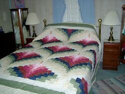 Queen Amish Style Hand Made Bargello Light In The Valley Quilt 96w X 105l