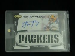 2020 Aaron Rodgers Rare/10 Fabric Of The Game Jersey Autograph Auto Card Packers