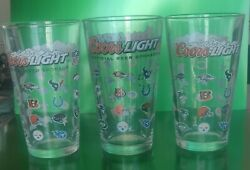 2 Nfl Coors Light Official Beer Sponsor Drinking Glasses 5 7/8andrdquo Tall 32 Teams