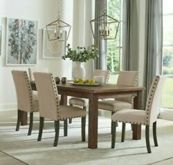 Rustic Country 9-piece Dining Set Solid Wood Table And Parson Side Chairs, Brown