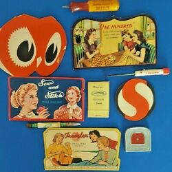 Vintage Advertising And Promotional Items Lot Of 10 Sewing And Tools