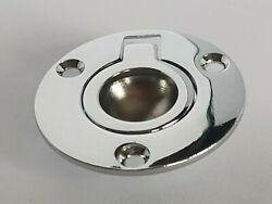 A Pair Of Round Hatch Flush Pull Handle Chromed Brass 50mm/2 Deck Lifting Rings