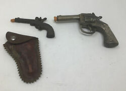 Stevens Miniature Big Chief Cast Iron Cap Gun 1940s W/ Leather Holster And Another