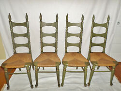 Vintage Mid-century French Country Fruit Wood Tell City Green Chairs- Set Of 4