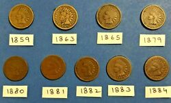 Indian Head Cent Penny 1859, 1863, 1865, 1879, 1880, 1881, 1882, 1883, 1884 Coin
