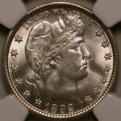 1892-o Barber Quarter Ngc Ms-65. Lustrous And Well Struck